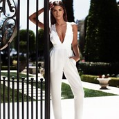 jumpsuit,shiva safai,celebrities in white,celebrity,plunge v neck,white jumpsuit