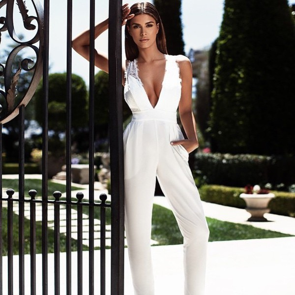 jumpsuit shiva safai celebrities in white celebrity plunge v neck white jumpsuit