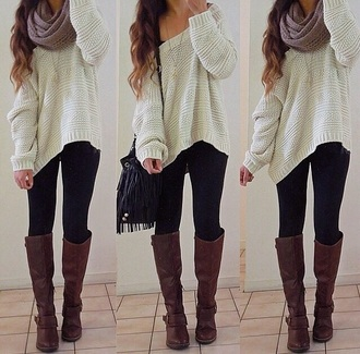 sweater knit white knitted sweater