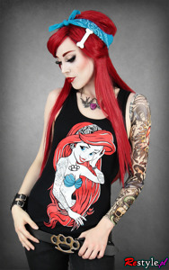 Black tank top rebel mermaid ariel