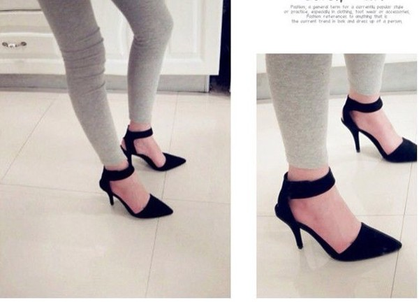 Black Suede Thick Ankle Strap Pointed Toe High Heels