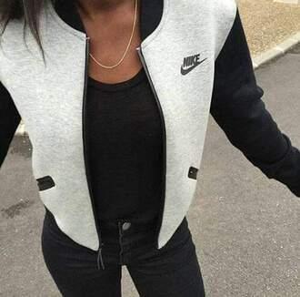 cardigan nike nike sweater sweater black black sweater white white sweater jacket black and grey