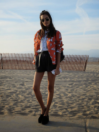 gizele a go-go blogger shorts orange striped shirt leather shorts black shorts