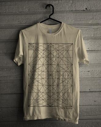 t-shirt cream cream shirt cream top cream tshirt geometric graphic tee geometric design