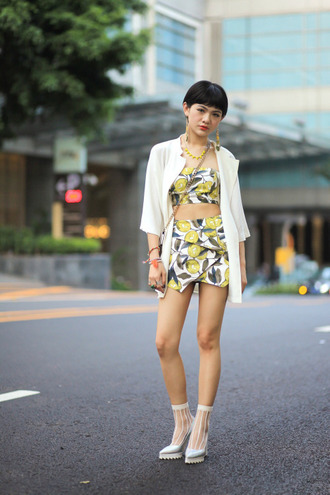 dress two-piece socks shoes white high heel top skirt yellow bag bracelers necklace earings cardigan