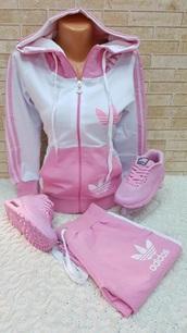 sweater,adidas,adidas sweater,adidas sweats,adidas tracksuit clothes top pants,pink,set,two piece dress set,white,comfy