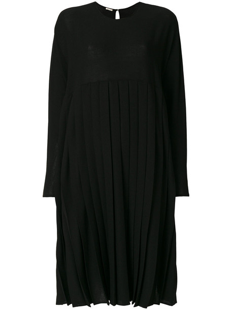Apuntob dress pleated dress pleated women spandex black wool