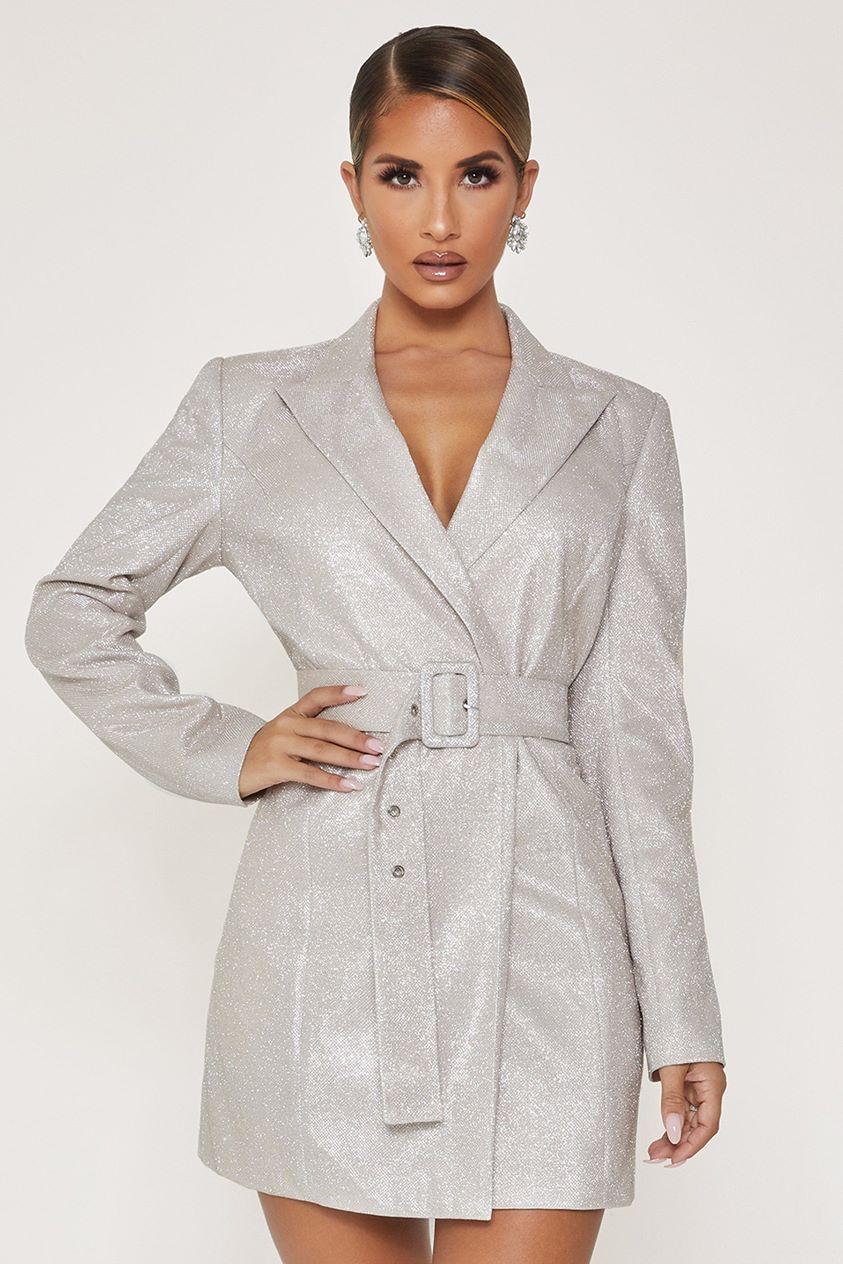 Victoria Double Breasted Blazer Dress - Silver