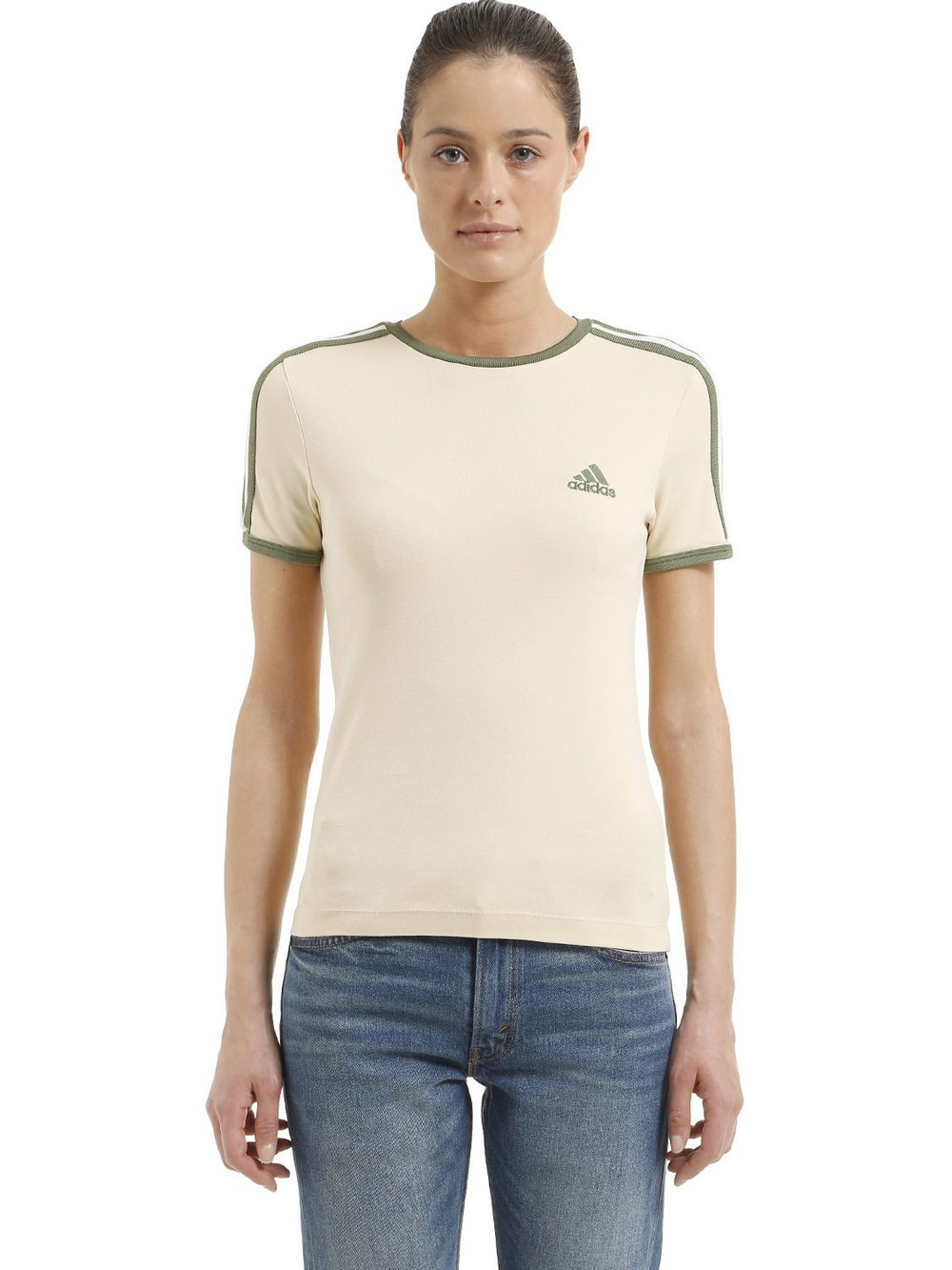 YEEZY Baby Fit Cotton Jersey T-shirt in green / white