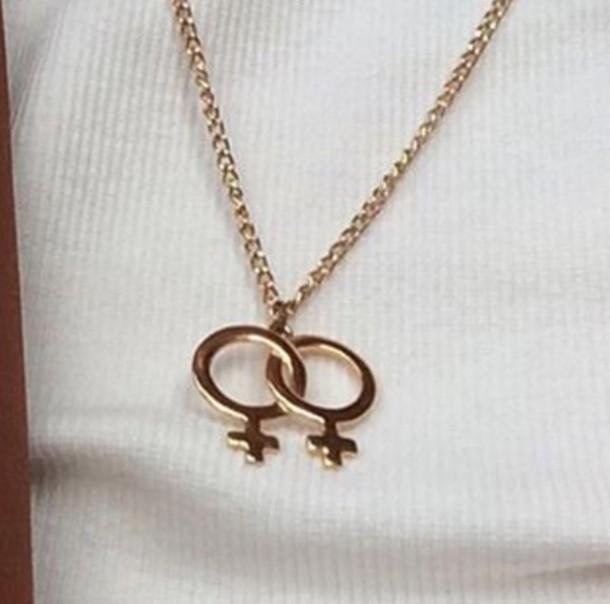 Venus Necklace Double Venus Symbol Necklace Charm Choker Venus