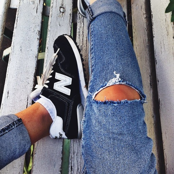 shoes new balance black sneakers ripped jeans white socks jeans white fashion trainers new balance sneakers black and white ripped denim please jeans dark denim shorts blue ripped knee new balance trainers