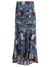 skirt,print,blue,silk