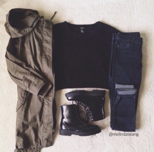 jacket t-shirt jeans shoes sweater