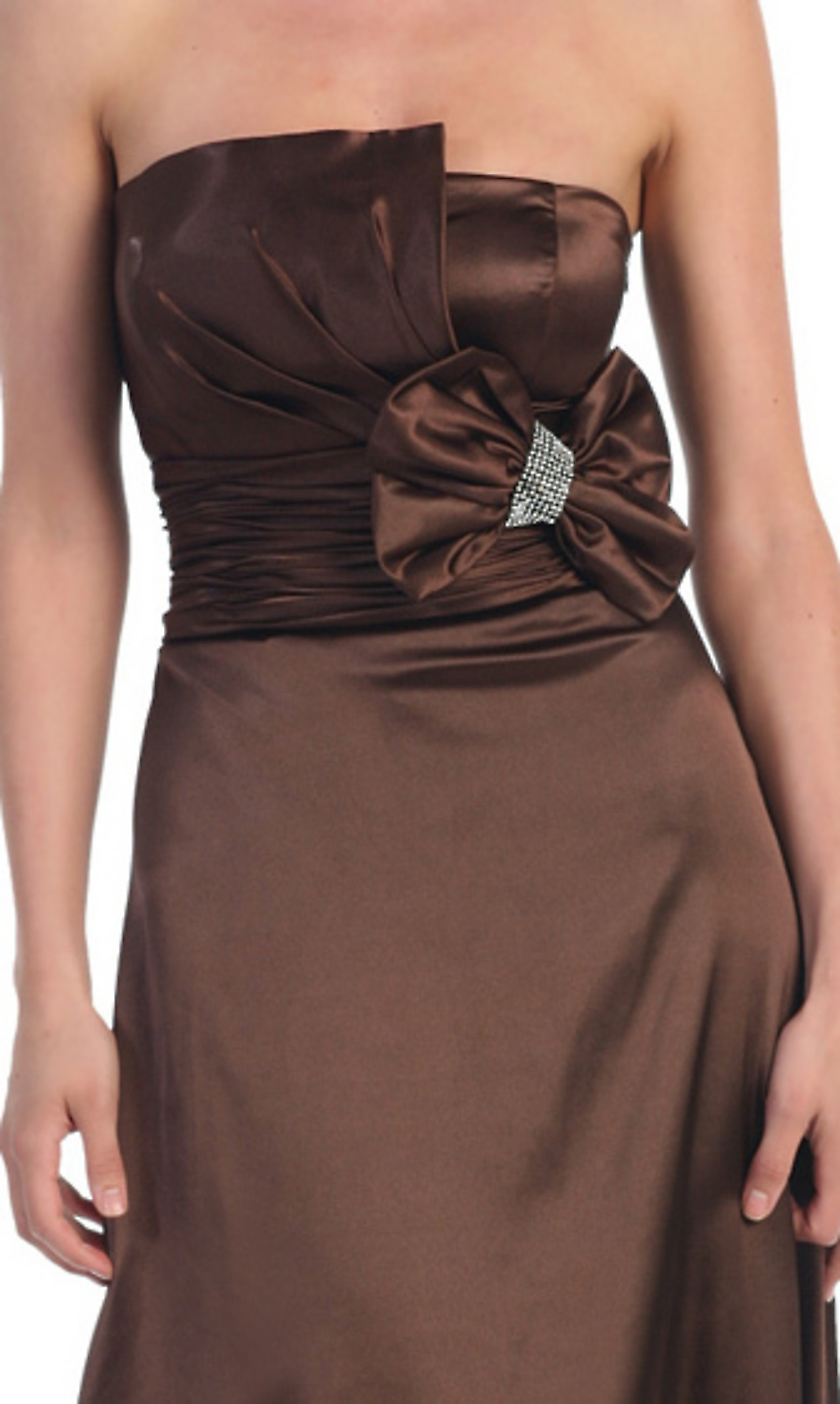 Scalloped-Edge Neck Chocolate Silky Satin Floor Length Mother Gown of Bow Tie at Bodice : SG1594 : $369.98