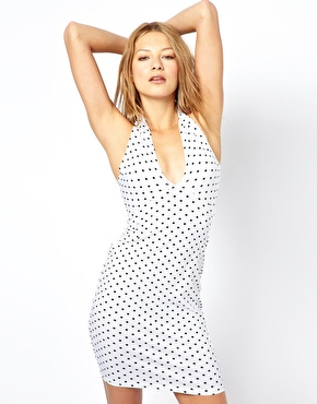 American Apparel | American Apparel Halter Neck Bodycon Dress in Polka Dot at ASOS