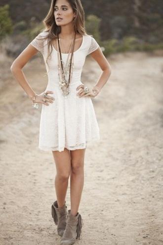 dress white dress white lace dress country dress country style shoes taupe boots taupe boots white skater dress