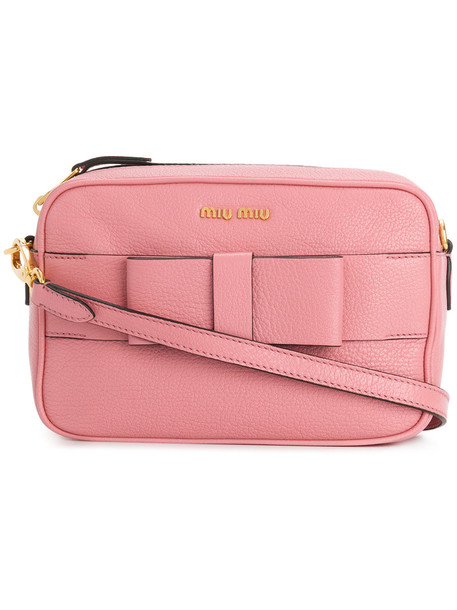 Miu Miu bow women bag shoulder bag leather purple pink