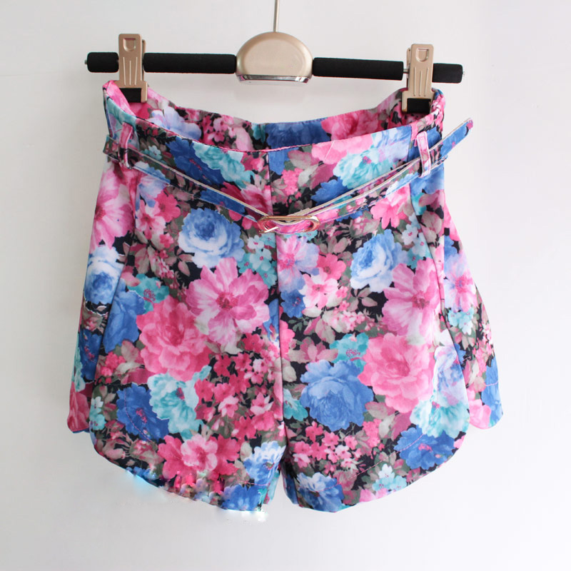 Free Shipping 2014 Summer vintage baroque rose high waist straight shorts print shorts with belt (Blue Orange S/M)120922#3-inShorts from Apparel & Accessories on Aliexpress.com