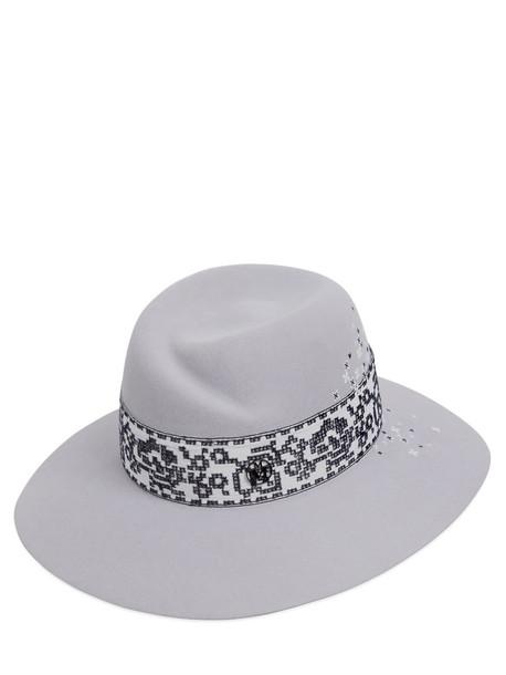 Maison Michel cross hat felt hat light grey