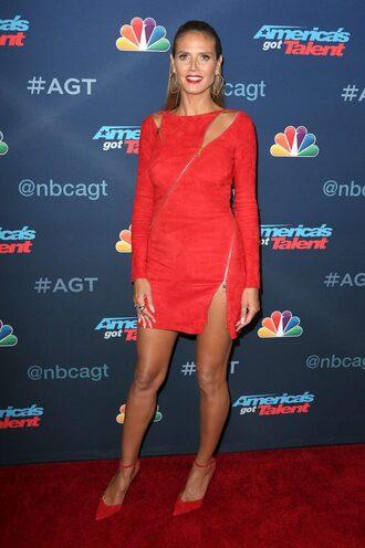 dress red dress red long sleeves long sleeve dress heidi klum pumps mini dress cut-out dress asymmetrical dress zip zipped skirt