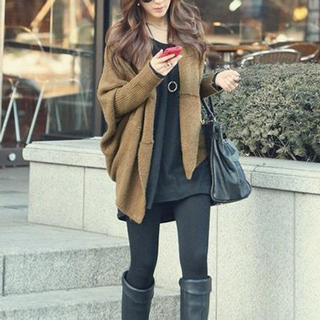 Vintage loose fitting batwing long sleeve cardigan for women_19.69