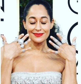 jewels jewelry bling diamonds silver silver jewelry silver ring armor ring knuckle ring ring chain linked rings linked rings midi rings hand jewelry tracee ellis ross golden globes 2017 red carpet celebstyle for less celebrity style celebrity