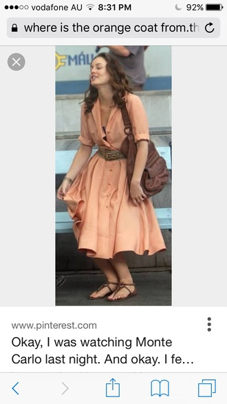 coat leighton meester selena gomez selena gome orange buttons monte carlo movie nude dress with buttons