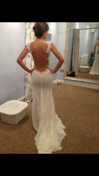 dress wedding dress white dress lacey back