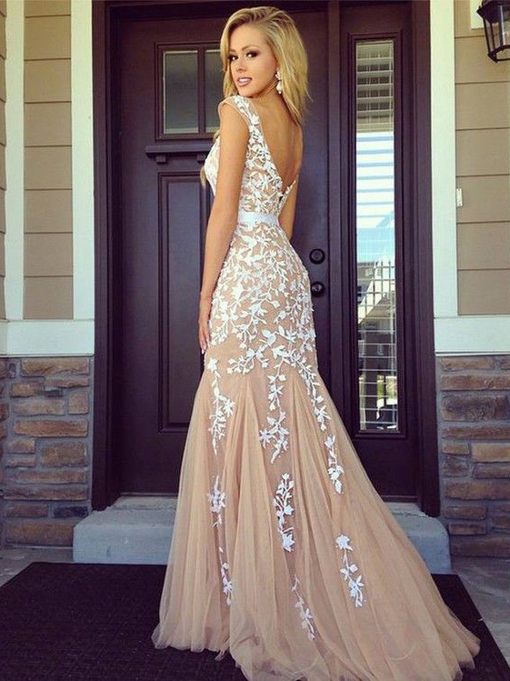 Hairstyles for party gowns : Round neckline v back sweep train prom dress formal party
