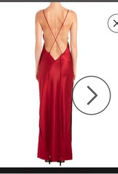 dress,red silk dress,x back dress,criss cross back,red dress,maxi dress