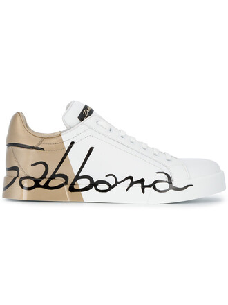 women sneakers gold leather white shoes