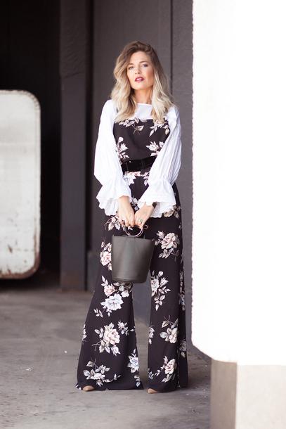 mi aventura con la moda blogger jumpsuit blouse bag fall outfits floral jumpsuit