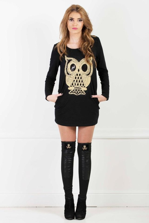 shirt black gold skull owl skull
