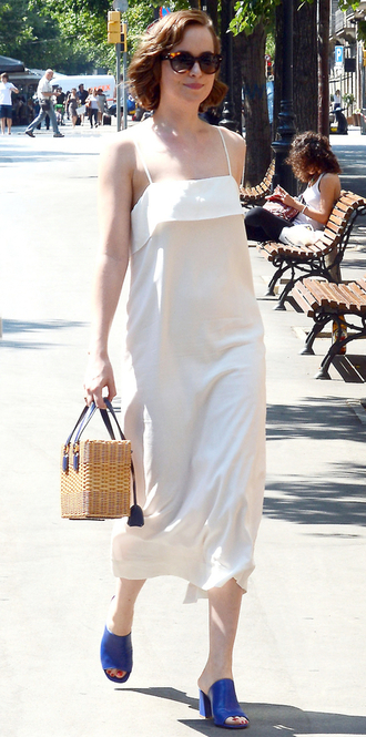dress midi dress white dress dakota johnson mules summer outfits summer dress