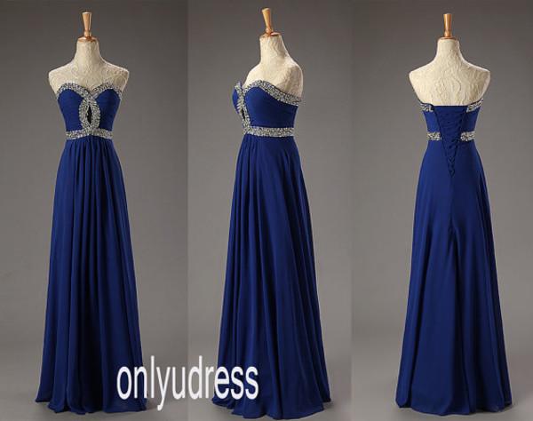 dress royal blue dress long dress beaded dress chiffon dress party dress prom dress homecoming dress bridesmaid evening dress evening dress