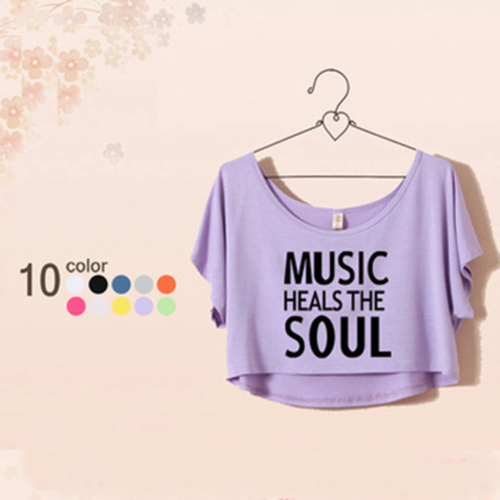 Woman's Juniors Cropped T Shirt Music Heals The Soul 11 Colors One Size XS M | eBay