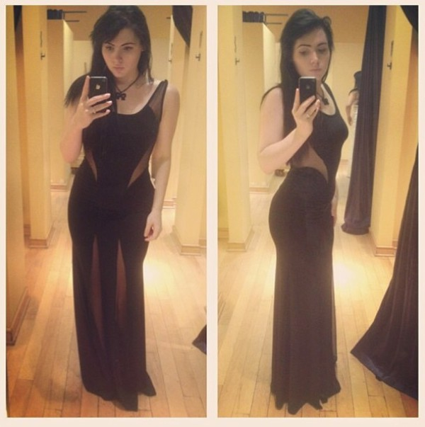 black dress long dress long black dress sheer dress
