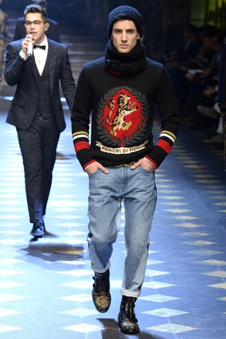 sweater runway dolce and gabbana fashion week 2017 jeans menswear mens sweater