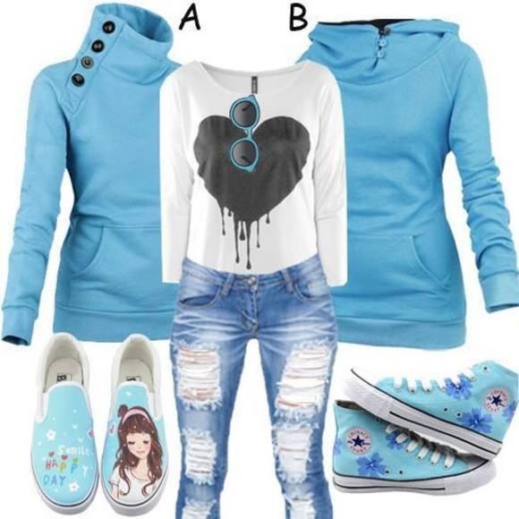 baby blue hoodie jeans sneakers vans chuck taylor floral print