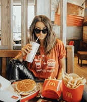 shirt,burger and fries,graphic tee