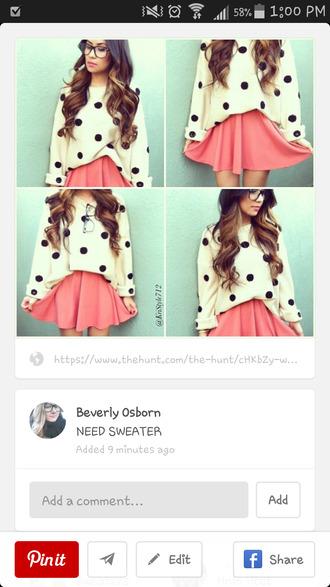 polka dots loose sweater cute sweater
