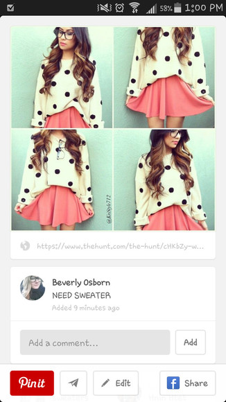 polka dot loose sweater cute sweater