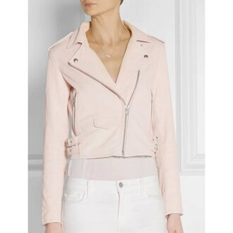 jacket leather jacket leather pu leather faux leather cream pastel pink pastel cute grunge classy stylish chic beige minimalist office outfits zip zipper jacket pink leather jacket pink leather