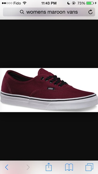 shoes maroon/burgundy vans vans of the wall sneakers girl