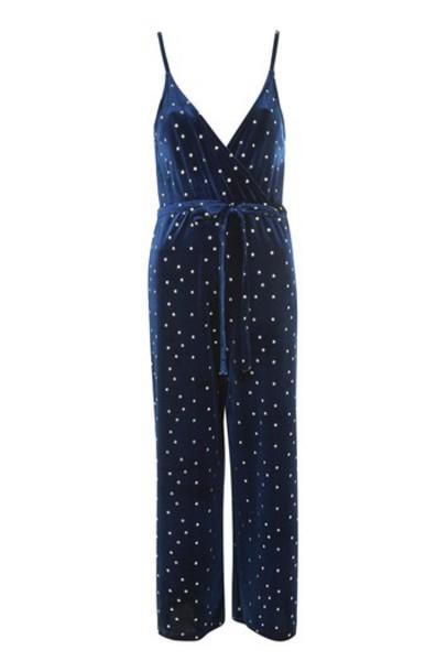Topshop jumpsuit navy blue velvet