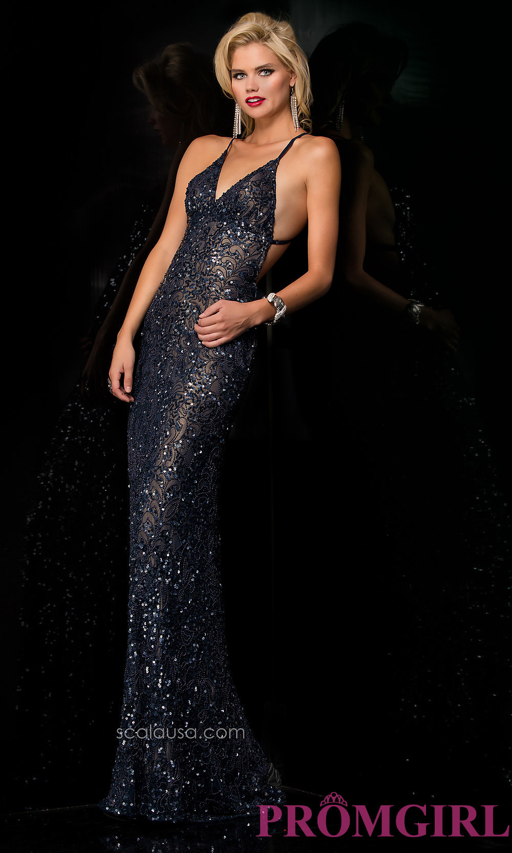 24a3a7320b2 Sequin Gown with Open Back by Scala 47542