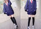 jacket,cardiagan,blue,polka dots,cute,asian