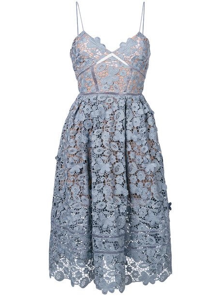 self-portrait dress women spandex floral blue