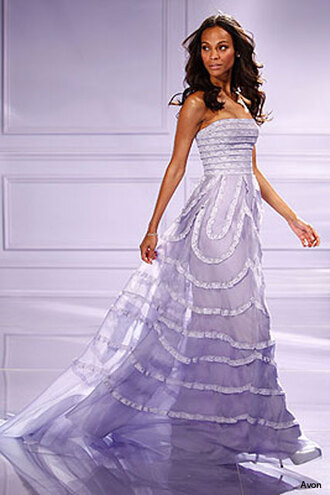 dress clothes pageant evening outfits gown prom formal purple lilac violet beautiful zoe saldana