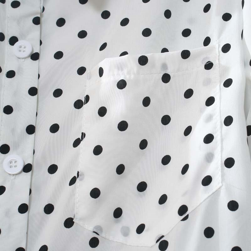 White Lapel Long Sleeve Polka Dot Blouse - Sheinside.com